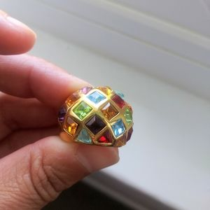 Jewelry - Gold with different colored stones ring. Size 6
